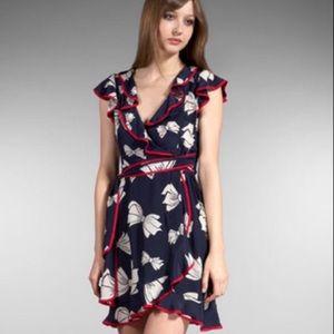 """Nanette Lepore """"Swept Away"""" Silk Wrap Dress, 0 XS"""